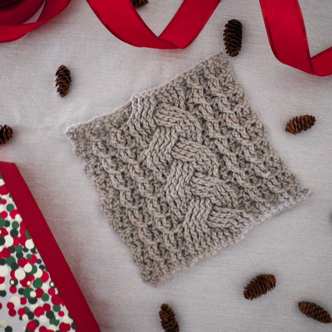 Cozy Cables Blanket Square- Free Pattern