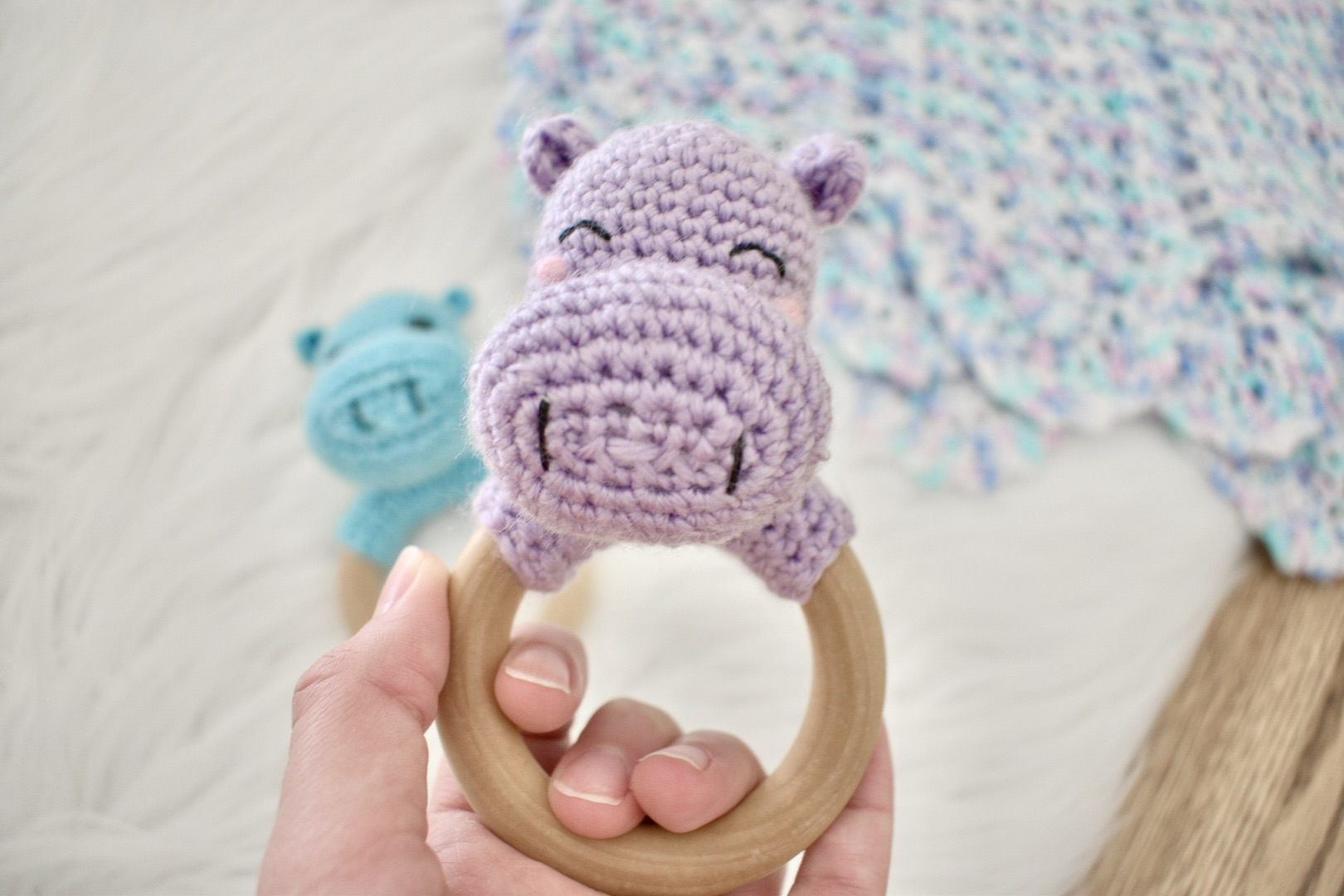 Hippo Rattle Teething Ring- Free Pattern