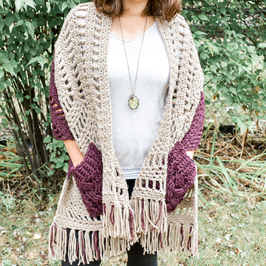 The Tri Pocket Shawl- Free Crochet Pattern