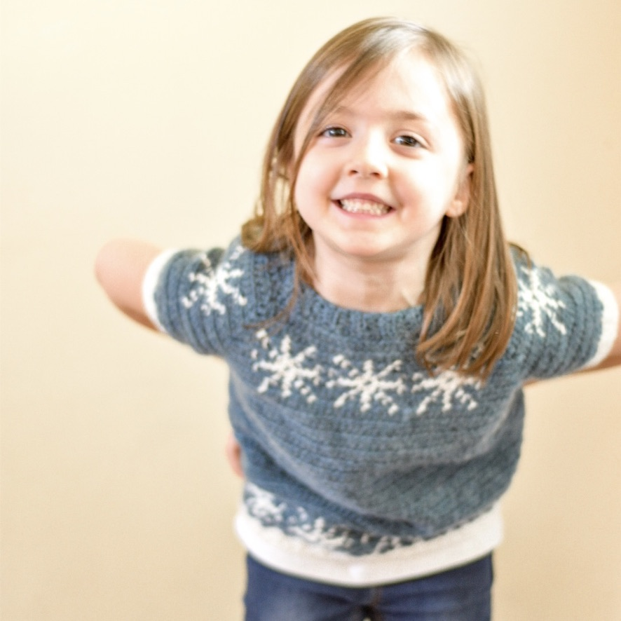 Snowfall Raglan Child Sizes- Free Crochet Pattern
